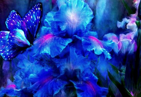 IRISES & BUTTERFLY - flowers, irises, art, butterly