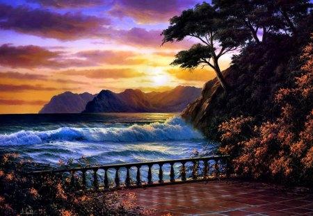 BEAUTIFUL SUNSET - painting, sunset, ocean, mountain