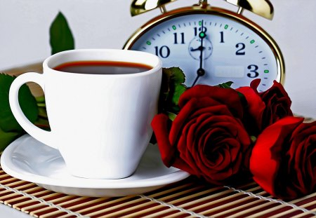 TEA SERVED! - roses, tea, alarm, clock