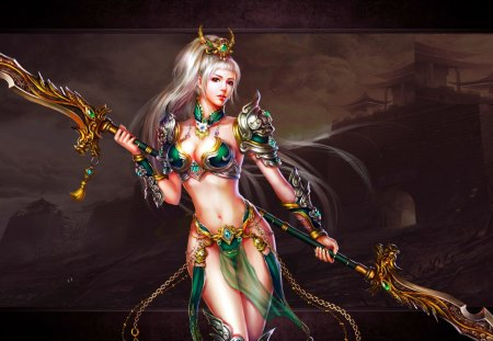 SEXY WARRIOR GIRL - beauty, sexy, girl, art, warrior