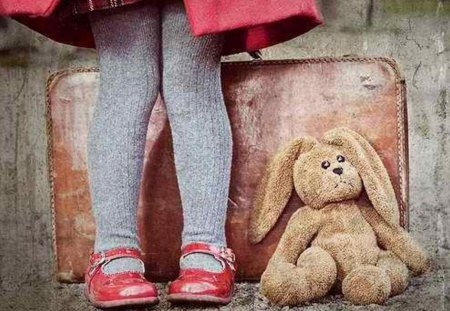 Memories of a sweetheart - sweetheart, shoes, image, colours, toy, legs, stuffed animal, rabbit, pic, memories, colors, wall, wallpaper, tights, girl, suitcase, picture