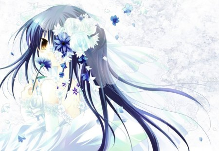 Gintama - flowers, white, girl, blue