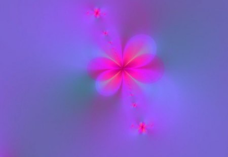 Flowers In the Mist - flowers, purple, pink, abstract, mist, fractal