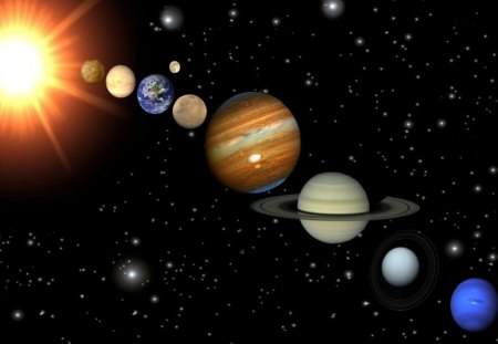 The Solar system - moon, sun, the solar system, the planets, solar system, earth