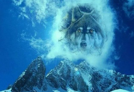 Wolf Mountain in The Sky - fantasy, wolf, animals, abstract, mountain