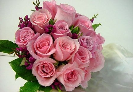 Roses for Lena - pink, bouquet, green, flowers, dew drops, roses