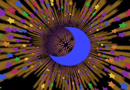 Once in a Blue Moon Rainbowed Shooting Stars - Stars, Shooting Stars, co11ie, m00n, rainbow, gold, moon, homemade abstract, Starry, blue moon, fractal patterning, Night, blue, nighttime, multicolored, crescent, nightime