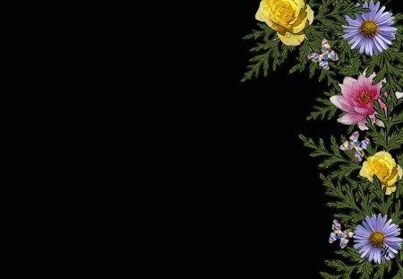 Pastel Flowers On Black Flowers Nature Background Wallpapers On Desktop Nexus Image 1140235