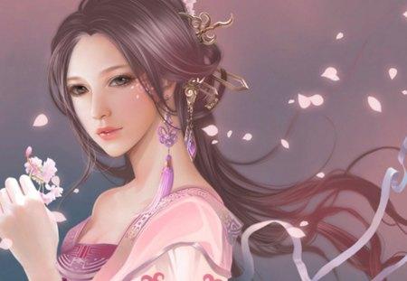 Pink Lady - sakura, oriental, girl, orginal, pretty, long hair, soft drawing
