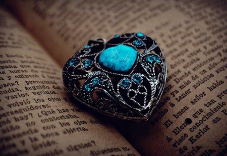 Love - blue, photography, romance, romantic, heart, book, love