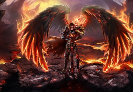 Angel of fire - fire, warrior, wings, hell, devil, artwork, angels