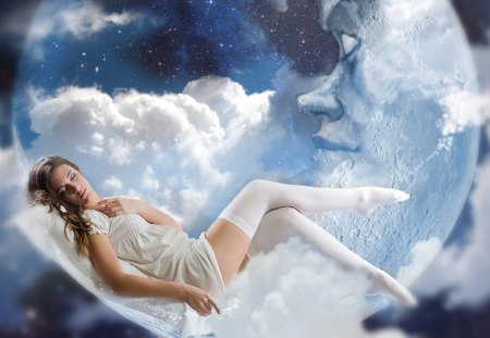 Sweet Dreams - moon, dreams, woman, sweet