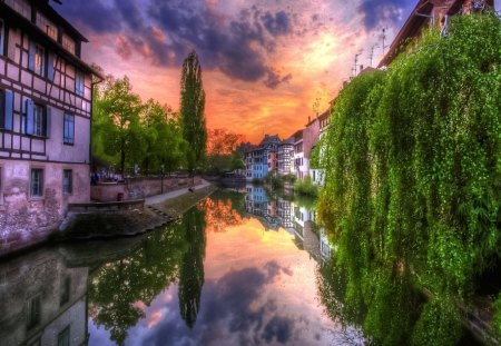 Colorful Canal - beautiful, silent, waterscape, soft, smooth