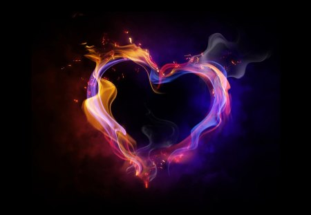 Fire Heart - fire, abstract, heart, love