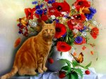 nice cat among the flowers