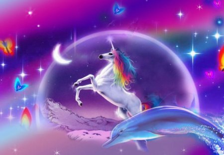 Unicorn Dreams - unicorn, fantasy, rainbow, dreams