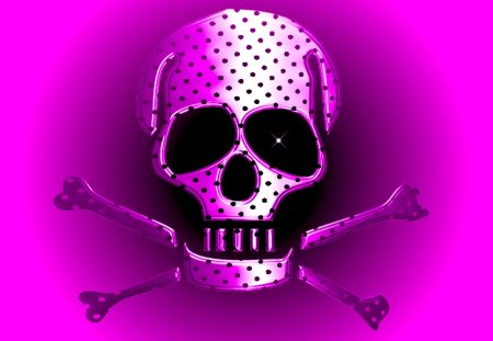 SKULLY GIRL - crossbones, polka dot, pirate, skull, bones, pink, black