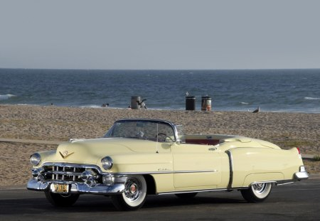 1953 Cadillac Eldorado - antique, car, 1953, sea, vintage, cadillac, old, ocean, classic, beach, 53, eldorado, convertible