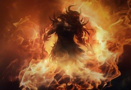 barbarian - fire, fantasy, demons, barbarian, art, artwork, horns, diablo
