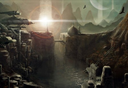 futuristic city - cliffs, river, birds, buildings, bridge, planet, mountains