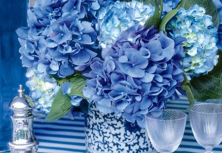 Rhapsody in Blue - cloth, glass, table, hydrangea