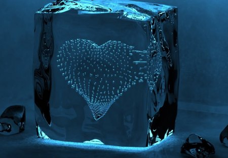 HEART OF BLUE - hearts, cg, blue, cold, abstract, 3d, cube, winter, ice