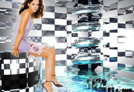 Katie Holmes - female, actress, pop-art room, long hair dark, lavander dress, long legs