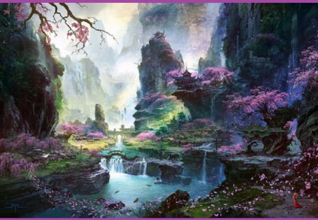 Crossing Eden - abstract, asia, cherry trees, landscape, eden, rocks, temple, crossing, waterfalls, bridge, petals, mountains, trees, fantasy, river, girl, art