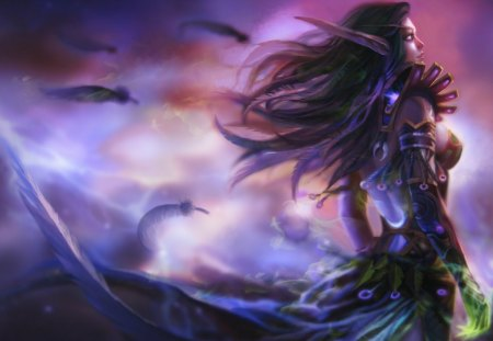 World of Warcraft - games, female, elf, world of warcraft, video games, warcraft, long hair, feathers