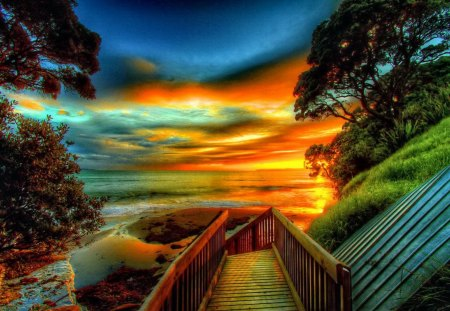 Mango sunrise - glow, sun, orange, stairs, beautiful, sunset, clouds, sea, sundown, nice, bright, sunrise, reflection, light, amazing, lovely, ocean, place, sky, trees, water, mango, sunshine, nature, steps