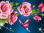 Pink Roses So Bright