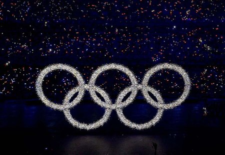Sparkle Olympic Rings - glitter, flash, olympic rings, sparkly, diamond, ceremony, crowd, rainbow points of light, white, blue