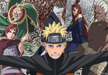Naruto and the 5 Kage - ohnoki, naruto, ai, mei terumi, 5 kage, danzo, gaara
