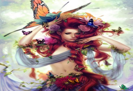 Butterfly Girl - butterfly girl, rose, red hair, smile, nail polish, flower hair, fantasy, cool, butterfly, sex, flower, hot, beauty, long hair