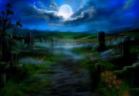 FULL MOON NIGHT - cemetery boards, moon, night, art, track