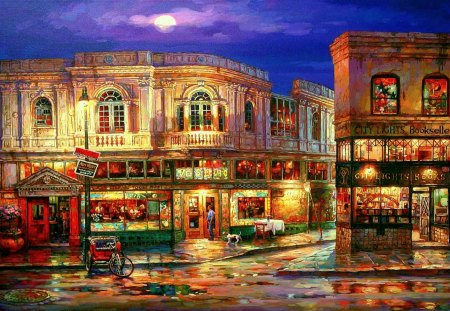 BEAUTIFUL CITY - light, painting, shop windows, street, houses, shops, moon, night, cao yong
