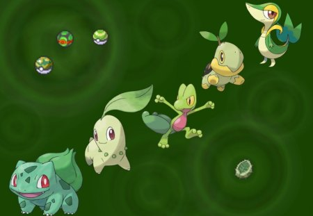 The Ones That Make The Grass Grow - grass, pokemon, bulbasaur, treevile, chikaritta, turtwig, snivy