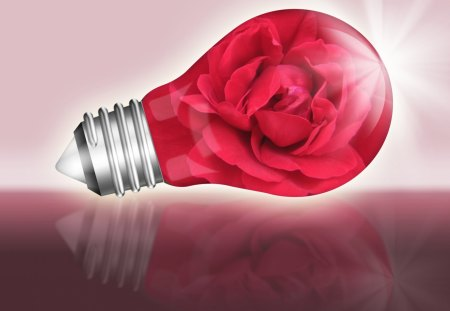 ♥  Light Bulb With Red Rose  ♥ - light, 3d and cg, rose, light bulb, abstract, red rose, love