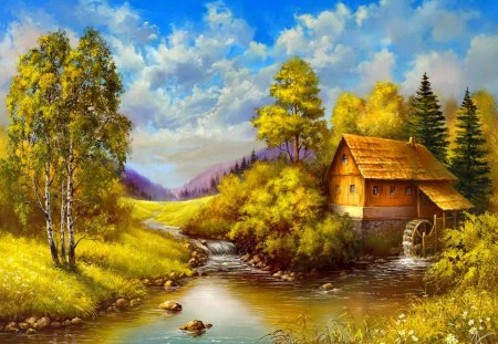 Peaceful countryside place - peaceful, stream, painting, creek, calm, place, autumn, countryside, calmness, sky, bridge, water, nice, summer, nature, trees, cabin, reflection, beautiful, lovely, river, clouds, stones, cottage, house, village, riverbank, mill, shore