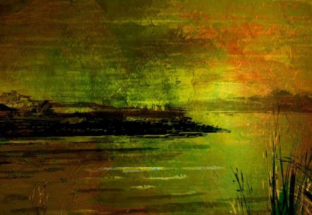 Twilight on Autumn Waters - grass, orange, conceptual, impractical, nonphysical, clouds, spiritual, theoretical, intangible, artisitic, mental, hypothetical, evening, reflection, impalpable, imperceptible, speculative, art, sky, abstract, visionary, ideational, fall, cosmical, insubstantial, metaphysical, autumn, reeds, insensible, transcendent, green, intellectual, conjectural, incorporeal, transcendental, romantic, ethereal, notional, nonmaterial, cosmic, immaterial, unreal, ideal, utopian