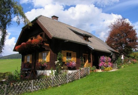 COTTAGE IN THE COUNTRY - lawns, cottages, grass, houses, country living, charm, trees, sky, fences, flowers