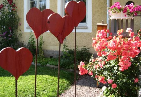 Red hearts - hearts, house, roses, summer, red