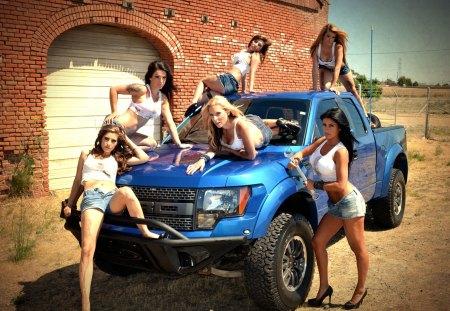 Babes & Ford Raptor - blue, babes, truck, models