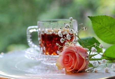 For Sheryl - babys breath, cup, rose, pink, crystal, tea, leaves, table
