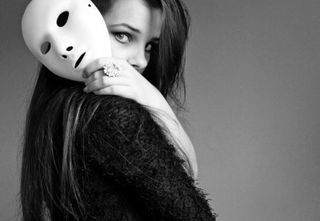 WHITE MASK - woman, photography, bw, portrait, mask