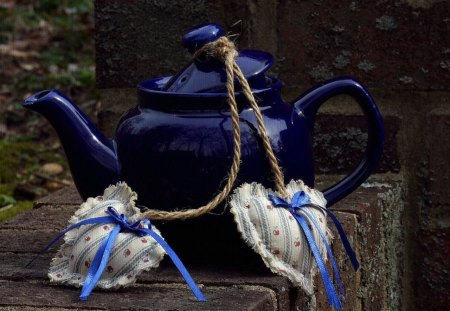 Kettle - hearts, blue, harmony, nice, kettle, heart, beautiful, cool, romance, still life, love