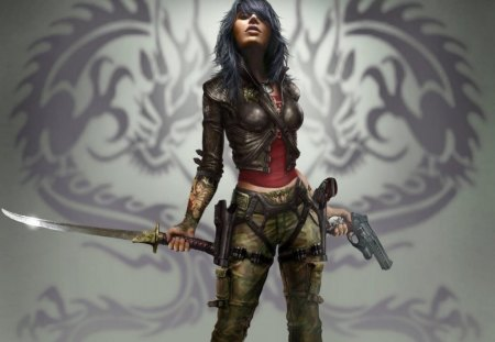 deadly serious - woman, girl, guns, sword, warrior