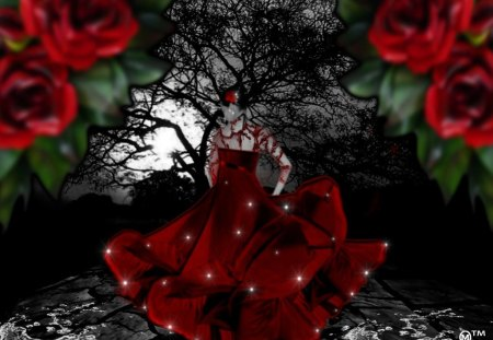 Dance with me  - hearts, dresses, fantasy, sparkles, waters, roses, red, love