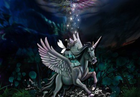 A Magical World - beauty, gems, fantasy, waters, unicorns, pandora, love