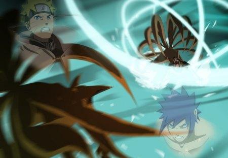 Naruto & Menma - spiky hair, anime, fox, uzumaki naruto, menma, shinobi, naruto, naruto uzumaki, nine tailed fox, kyuubi